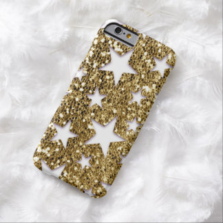 金ゴールドのグリッターの一見の星 BARELY THERE iPhone 6 ケース