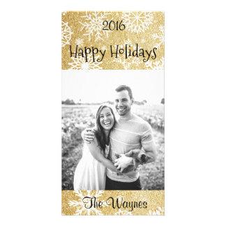金ゴールドのグリッターの冬の雪片のクリスマスカード カード