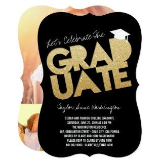 金ゴールドのグリッターの卒業生の切り出しの卒業生のパーティーの招待 カード