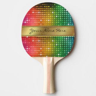 金ゴールドのグリッターの名前のストライプが付いているファンキーなディスコライト 卓球ラケット