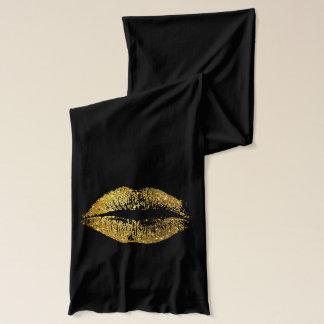 金ゴールドのグリッターの唇 スカーフ