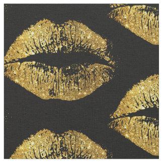 金ゴールドのグリッターの唇 ファブリック