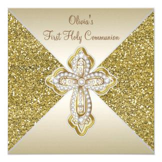 金ゴールドのグリッターの最初聖餐 カード