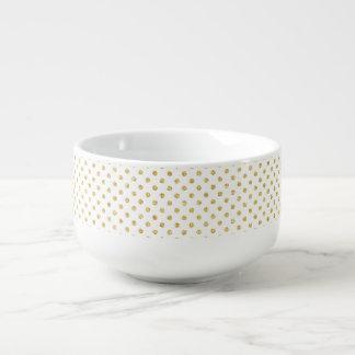 金ゴールドのグリッターの水玉模様パターン スープマグ