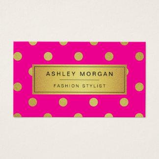 金ゴールドのグリッターの水玉模様-スタイリッシュな美しいのピンク 名刺