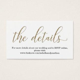 金ゴールドのグリッターの結婚式のウェブサイト情報のエンクロージャカード 名刺