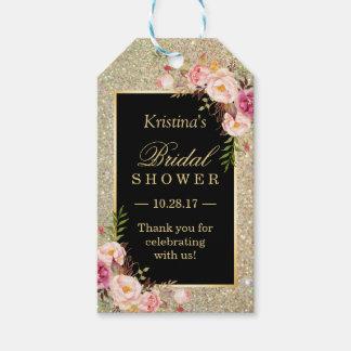 金ゴールドのグリッターの花のブライダルシャワーは感謝していしています ギフトタグ