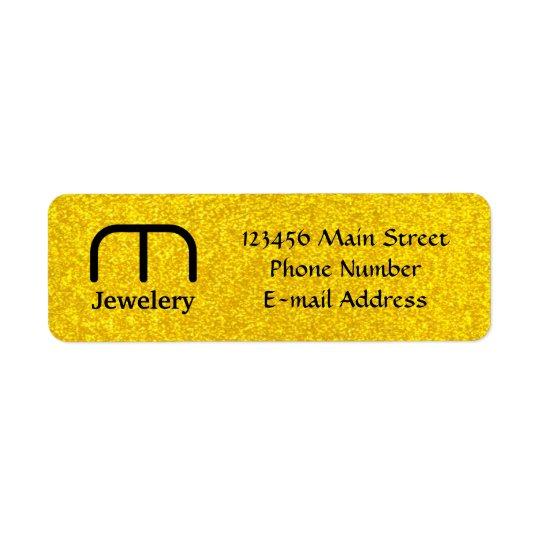 金ゴールドのグリッターの質 返信用宛名ラベル
