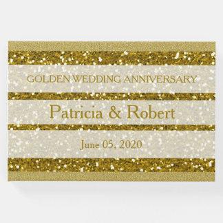 金ゴールドのグリッターの金結婚記念日 ゲストブック