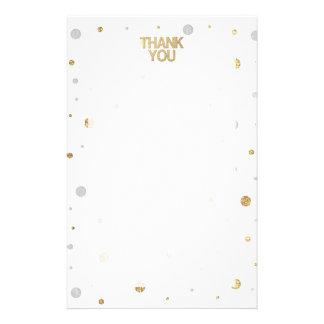 金ゴールドのグリッターの銀ぱくのプリントの紙吹雪は感謝していしています 便箋