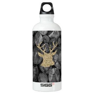 金ゴールドのグリッターの雄鹿またはシカ木丸太SIGGの水差し ウォーターボトル
