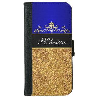 金ゴールドのグリッターの青および黒いiPhone 6のウォレットケース iPhone 6/6s ウォレットケース