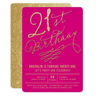 金ゴールドのグリッターの魅力的な大人の第21誕生会の招待 カード