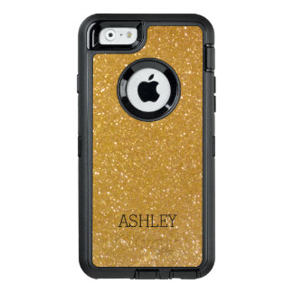 金ゴールドのグリッターのiPhone 6のOtterboxのカスタムで模造のな場合 オッターボックスディフェンダーiPhoneケース