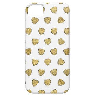 金ゴールドのグリッターキャンデーのハートのiPhone 5/5sの場合 iPhone SE/5/5s ケース