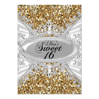 金ゴールドのグリッター及びダイヤモンドのティアラの菓子16の招待 カード