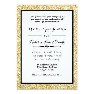 金ゴールドのグリッター及び黒いフレーム-結婚式招待状 カード