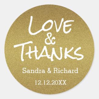金ゴールドのグリッター愛および感謝の結婚式の引き出物 ラウンドシール