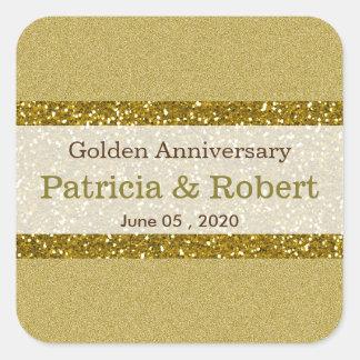 金ゴールドのグリッター第50の金結婚記念日 スクエアシール