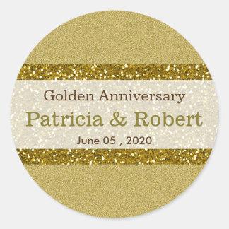 金ゴールドのグリッター第50の金結婚記念日 ラウンドシール
