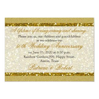 金ゴールドのグリッター第50の金結婚記念日 12.7 X 17.8 インビテーションカード