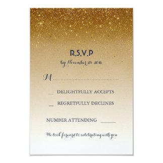金ゴールドのグリッター魅力的で白い結婚RSVPのカード カード