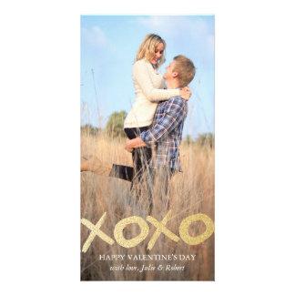 金ゴールドのグリッターXOXOのバレンタインデーの写真カード カード