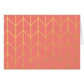 金ゴールドのシェブロンの珊瑚のピンクの背景のモダンな上品 カード