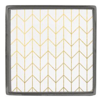 金ゴールドのシェブロンの白い背景のモダンな上品 ガンメタル ラペルピン
