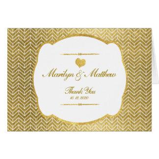 金ゴールドのシェブロンパターン金ゴールドフレームの結婚式は感謝していしています カード
