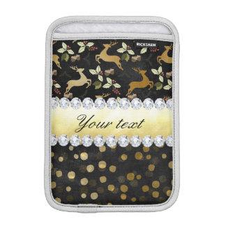 金ゴールドのシカの紙吹雪のダイヤモンドの黒板 iPad MINIスリーブ