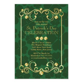 金ゴールドのシャムロックのセントパトリックのファンシーなパーティの招待状 カード