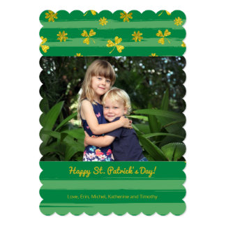 金ゴールドのシャムロックの写真のセントパトリックの日カード カード