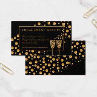 金ゴールドのシャンペンの泡婚約パーティのウェブサイト 名刺