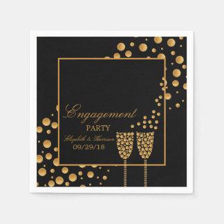 金ゴールドのシャンペンの泡婚約パーティ スタンダードカクテルナプキン