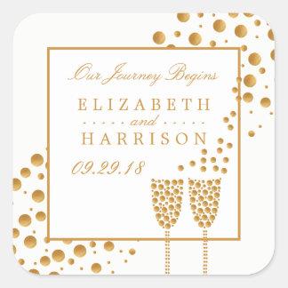 金ゴールドのシャンペンの泡結婚 スクエアシール