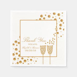 金ゴールドのシャンペンの泡結婚 スタンダードカクテルナプキン
