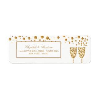金ゴールドのシャンペンの泡結婚 ラベル