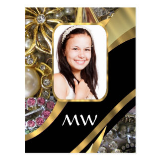 金ゴールドのジュエリーの写真の背景 ポストカード