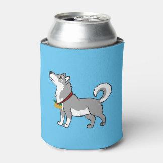 金ゴールドのジングルベルを持つ灰色のアラスカンマラミュート 缶クーラー