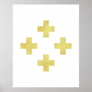 金ゴールドのスイスの十字の芸術のプリントのモダンな最小主義のホイル ポスター
