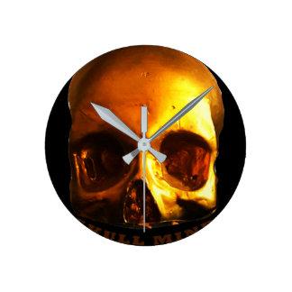 金ゴールドのスカルの心の黒の時計 ラウンド壁時計
