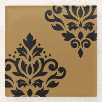 金ゴールドのスクロールダマスク織の芸術Iの黒 ガラスコースター