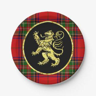 金ゴールドのスコットランドのライオンおよび格子縞 ペーパープレート