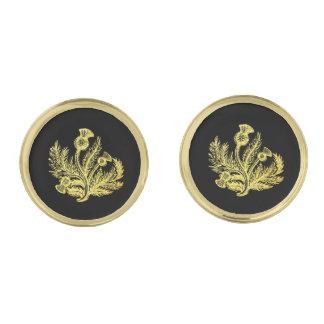 金ゴールドのスコットランド人のアザミ ゴールド カフスボタン