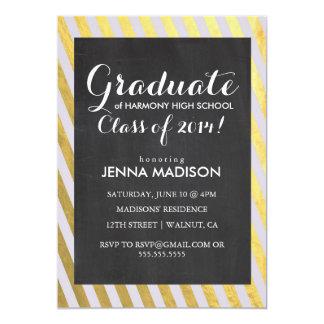 金ゴールドのストライプな黒板の卒業の招待状 12.7 X 17.8 インビテーションカード