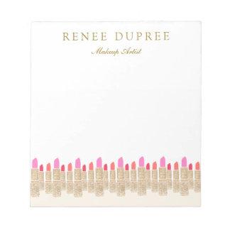 金ゴールドのスパンコールの口紅のメーキャップアーティストの美容院 ノートパッド
