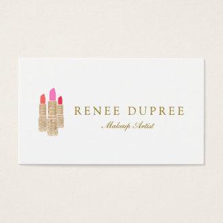 金ゴールドのスパンコールの口紅のメーキャップアーティストの美容院 名刺