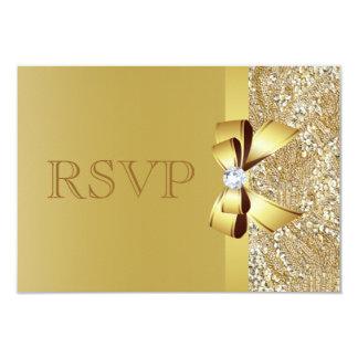 金ゴールドのスパンコール、弓及びダイヤモンドRSVP カード