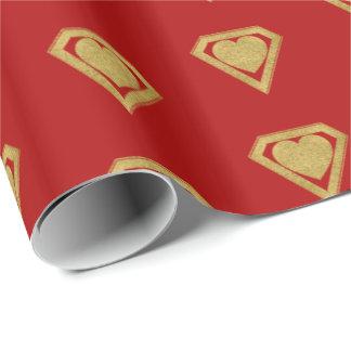 金ゴールドのスーパーヒーローの友人のバレンタインの包装紙の赤 ラッピングペーパー